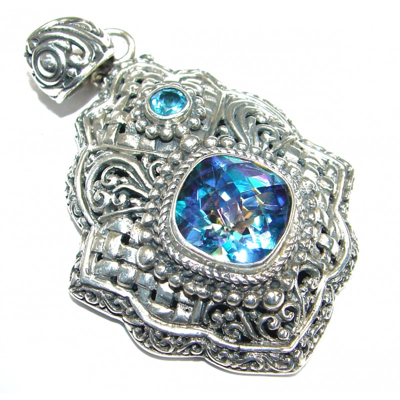 Authentic Aqua Mystic Topaz .925 Coral Sterling Silver handmade pendant