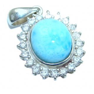 Hooked On Blue Larimar .925 Sterling Silver handmade pendant