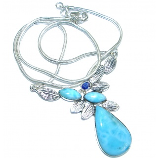 Sublime genuine Larimar .925 Sterling Silver handmade necklace