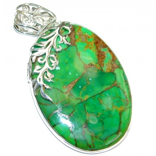 Green Turquoise with copper vains .925 Sterling Silver handcrafted Pendant