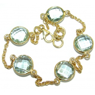 Green Amethyst 14 Gold over .925 Sterling Silver handmade Bracelet