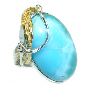 Natural Larimar 14K Gold over .925 Sterling Silver handcrafted Ring s. 7 adjustable