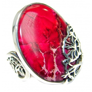 Sea Sediment Jasper handmade Sterling Silver handmade ring size 7 adjustable