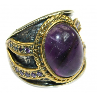 Bold Authentic Amethyst .925 Sterling Silver handmade Statement Ring s. 7