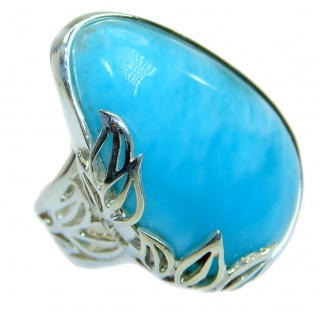 Top Quality Natural Larimar .925 Sterling Silver handcrafted Ring s. 7 adjustable