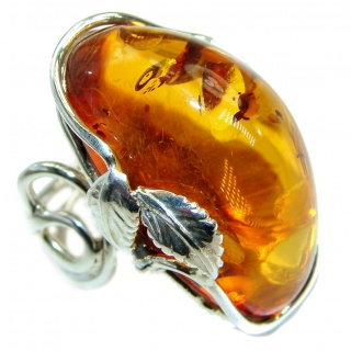 Huge Genuine Baltic Polish Amber .925 Sterling Silver handmade Ring size 8 adjustable