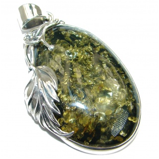 Great Design natural Green Baltic Amber .925 Sterling Silver handmade Pendant