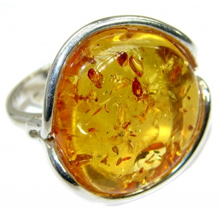 Genuine Baltic Polish Amber .925 Sterling Silver handmade Ring size 7 adjustable