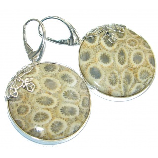 Huge Boho Style Genuine Fossilized Coral .925 Sterling Silver handmade earrings