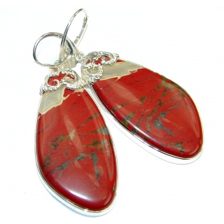 Bohemian Style Red Creek Jasper .925 Sterling Silver handcrafted Earrings