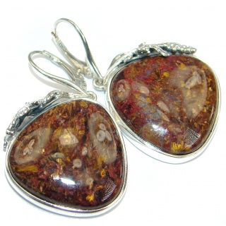 Silky Golden Pietersite .925 Sterling Silver handmade Earrings