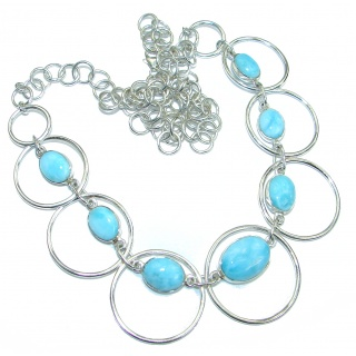 Blue Dream natural Larimar .925 Sterling Silver handmade necklace