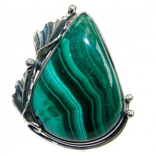 Sublime quality genuine Malachite .925 Sterling Silver handcrafted ring size 7 1/4 adjustable