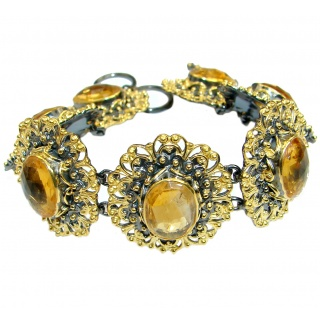 Rich Floral Design genuine Citrine 14K gold over .925 Sterling Silver handmade Bracelet