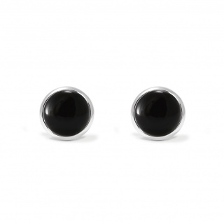 Charming studs earrings in sterling silver with a black onyx