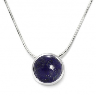 Charming necklace in sterling silver with a lapis lazuli