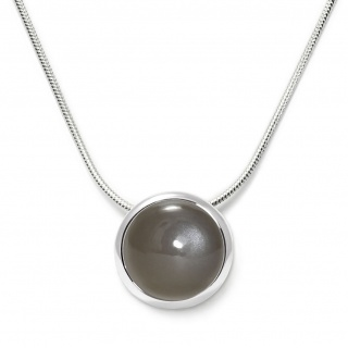 Charming necklace in sterling silver with a gray moonstone