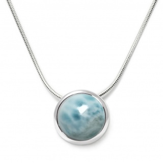 Charming necklace in sterling silver with a larimar