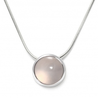 Charming necklace in sterling silver with a rose quartz