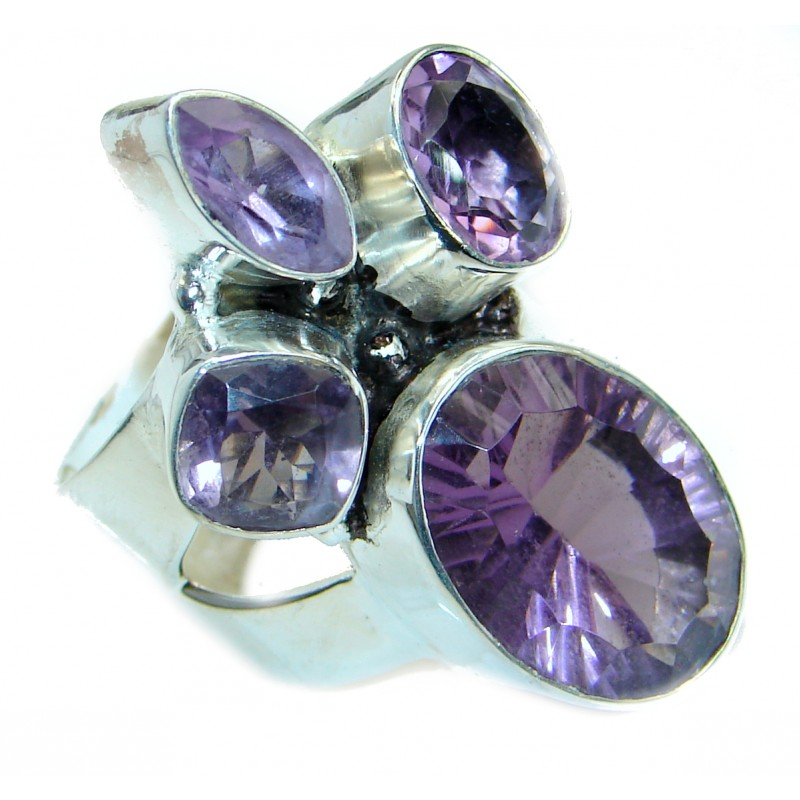 Bold Authentic Amethyst .925 Sterling Silver handmade Statement Ring s. 10