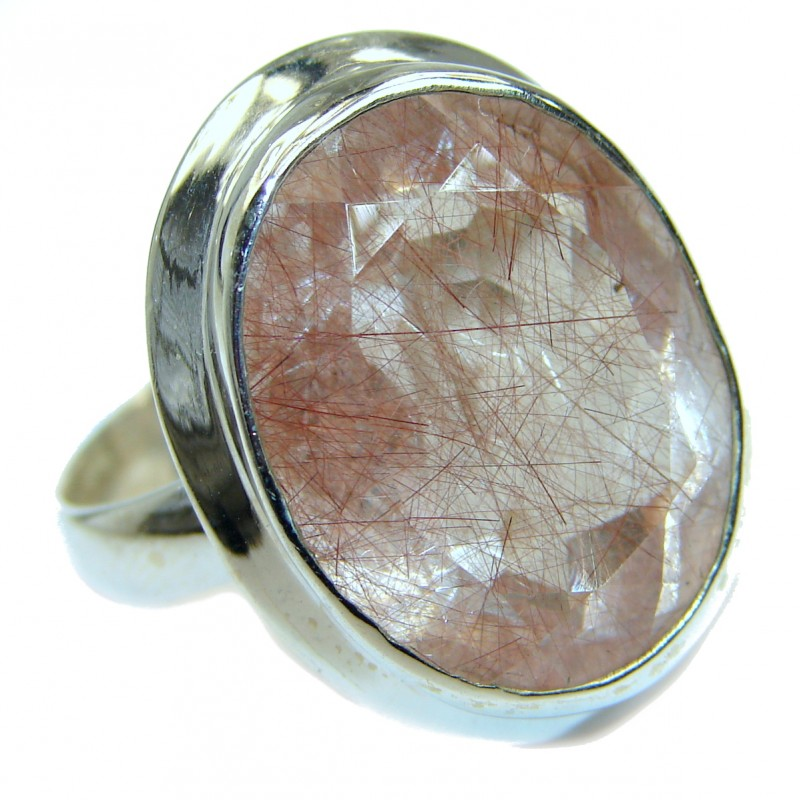 Golden Rutilated Quartz .925 Sterling Silver handcrafted Ring Size 10