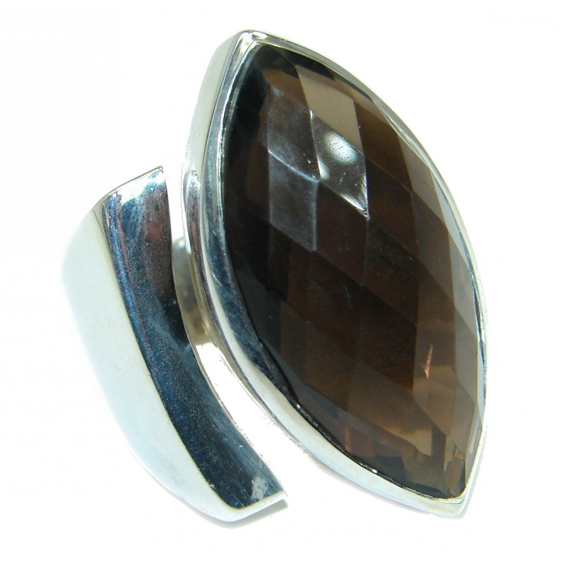 Huge Incredible Smoky Quartz .925 Sterling Silver Ring s. 8