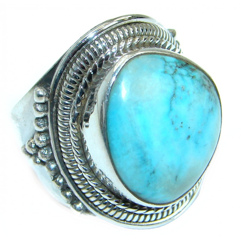 Natural Turquoise .925 Sterling Silver handmade Ring s. 9