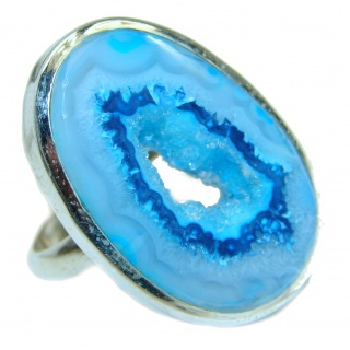 Exotic Druzy Agate .925 Silver Ring s. 7