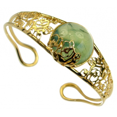 Incredible Genuine Moss Prehnite 18K Gold over .925 Sterling Silver Bracelet / Cuff