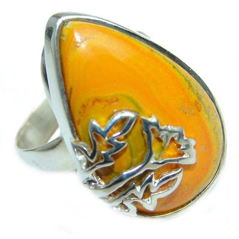 Vivid Beauty Bumble Bee Jasper .925 Sterling Silver ring s. 7 1/2
