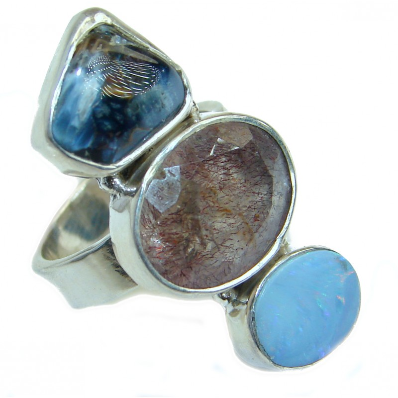 Bali Dream Tourmalinated Quartz .925 Sterling Silver handmade Ring s. 7
