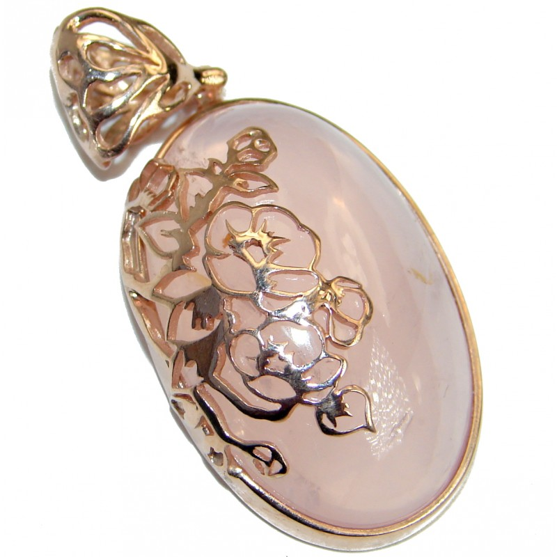 Amazing Rose Quartz 18ct Rose Gold over .925 Sterling Silver handcrafted Pendant