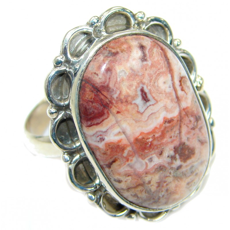 Excellent quality Crazy Lace Agate Sterling Silver Ring s. 11