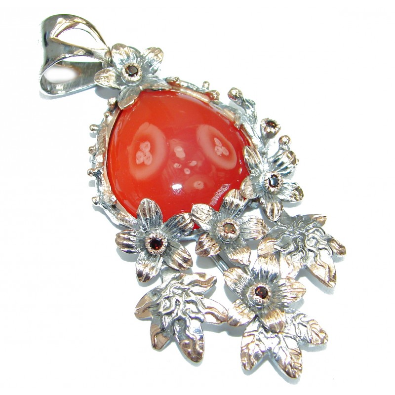 Beautiful authentic Carnelian oxidized .925 Sterling Silver handmade Pendant