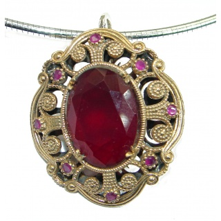Vintage Style created Ruby .925 Sterling Silver handmade necklace