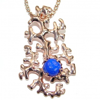 True Art genuine Lapis Lazuli 14K Gold over Rhodium over .925 Sterling Silver handcrafted necklace