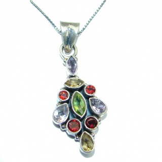 Bohemian Style Genuine Multigem .925 Sterling Silver handmade Necklace