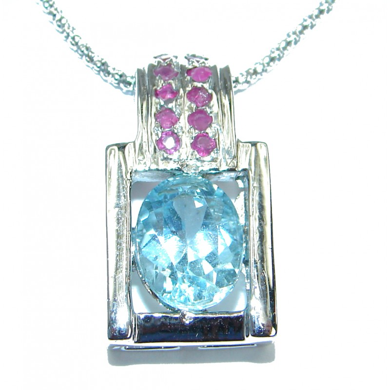 Great Masterpiece genuine Swiss Blue Topaz .925 Sterling Silver handmade necklace