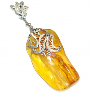 Huge 4 inches Natural Baltic Amber .925 Sterling Silver handmade Pendant