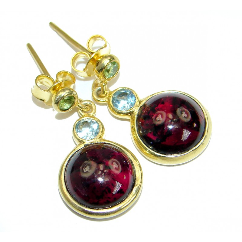 Simple Beauty genuine Garnet 14K Gold over .925 Sterling Silver handcrafted earrings