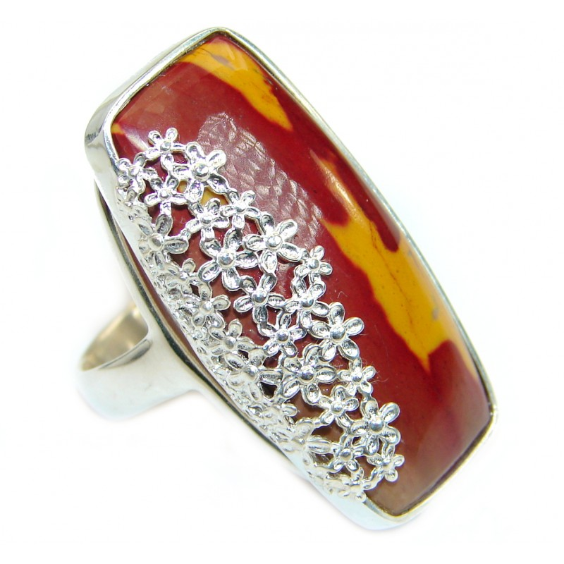 Huge Flawless Australian Mookaite .925 Sterling Silver handcrafted Ring size 7 1/2