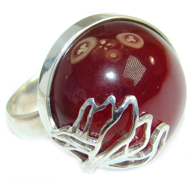 Genuine 40 ct Garnet .925 Sterling Silver handmade Cocktail Ring s. 7 1/2