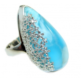 Natural 45 ct Larimar .925 Sterling Silver handcrafted Ring s. 7 3/4