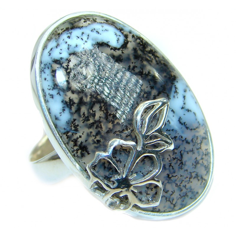 Top Quality Dendritic Agate .925 Sterling Silver hancrafted Ring s. 7 1/2