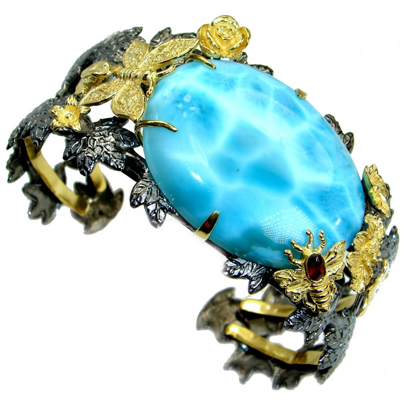 Baroque Style Genuine Blue Larimar 18ct Gold Rhodium over .925 Sterling Silver handmade Bracelet Cuff