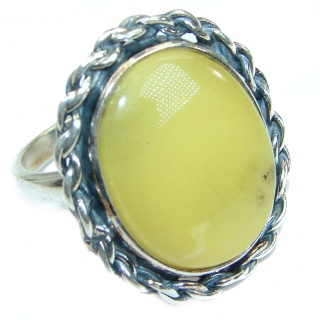 Genuine Butterscotch Baltic Polish Amber .925 Sterling Silver handmade Ring size 8 1/4