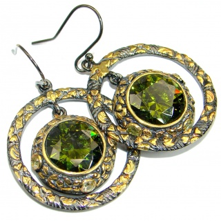 Mesmerizing Cubic Zirconia 14K Gold over .925 Sterling Silver handmade earrings