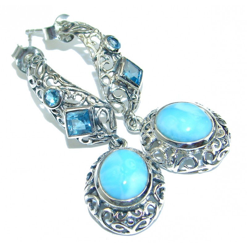 Bali Treasure Precious Blue Larimar .925 Sterling Silver handmade earrings