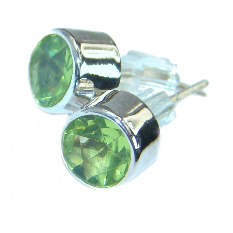 Authentic Peridot 6mm .925 Sterling Silver handmade earrings