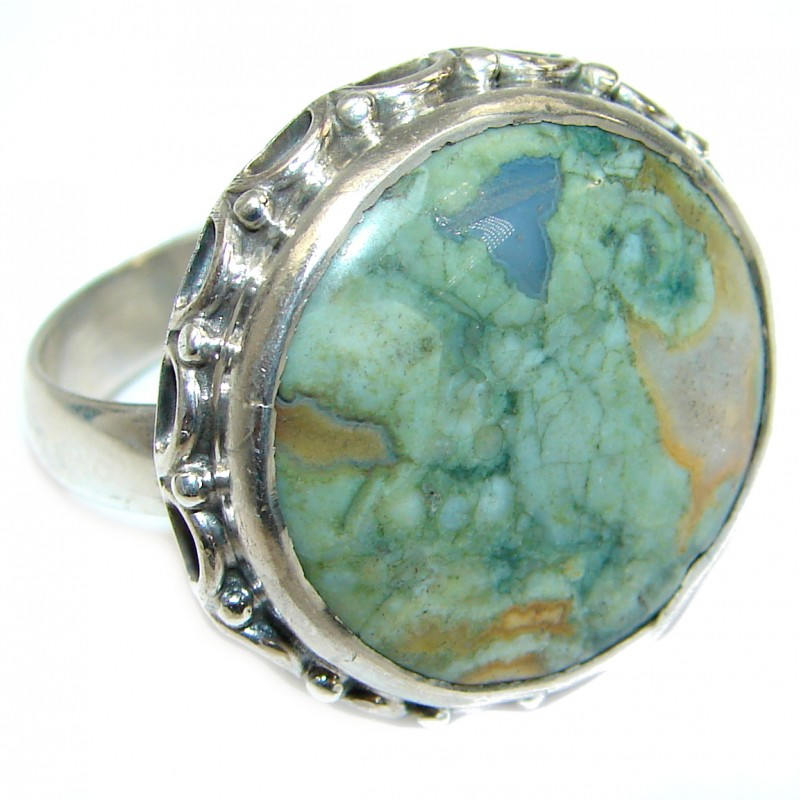 Excellent Rainforest Jasper .925 Sterling Silver Ring s. 11